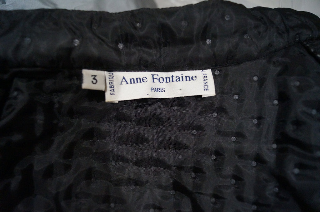 ANNE FONTAINE Black Polka Sparkle Lightweight Quilted Casual Jacket Coat Sz:3/M