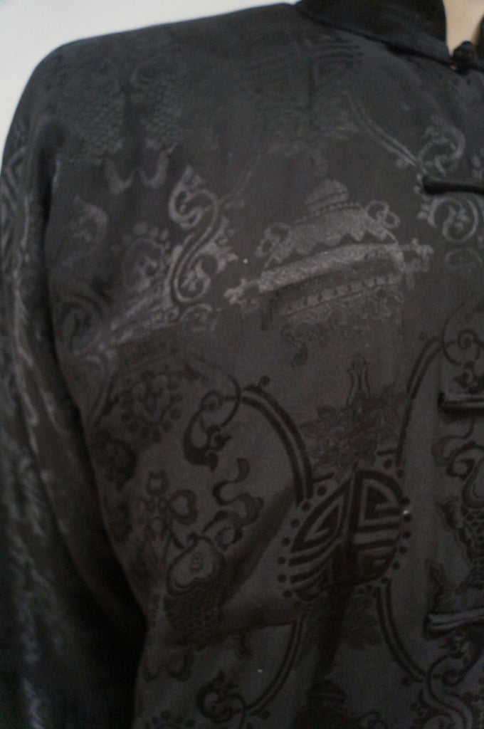 SHANGHAI TANG Women's Black Silk Oriental Embossed Print Padded Jacket 8 UK12