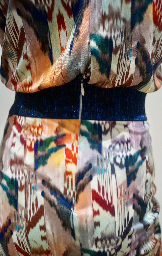 SALONI Multi Colour Silk Blue Glitter Waist 3/4 Sleeve Pleated Skirt Lined Dress