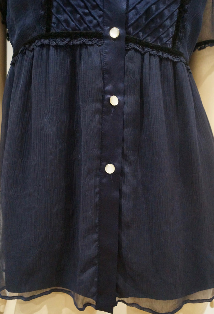 PAUL & JOE SISTER Midnight Navy Blue Satin Chiffon Short Sleeve Blouse Top UK12