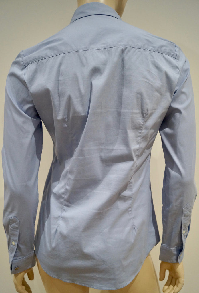 THE KOOPLES Pale Blue Cotton Stretch Peter Pan Collared Formal Blouse Shirt Top