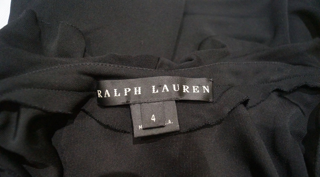 RALPH LAUREN BLACK LABEL Black Ruffle Halterneck Sleeveless Evening Party Dress