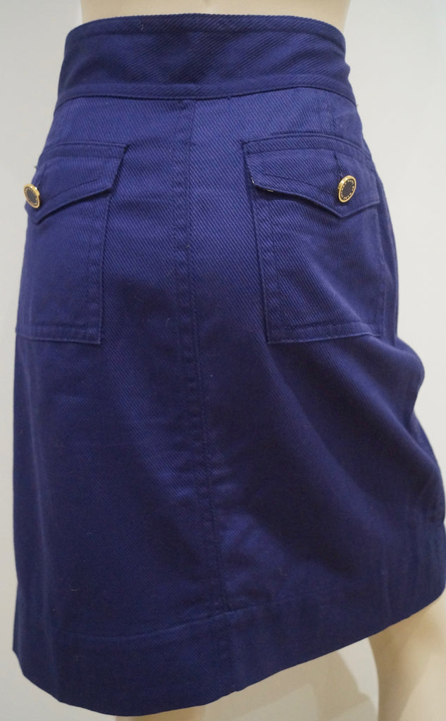 MARC BY MARC JACOBS Women's Purple Blue 100% Cotton Wrap Front Skirt US10 UK14
