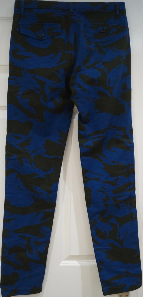 MARC BY MARC JACOBS Black Blue Cotton Abstract Print Skinny Trousers Jeans Pants
