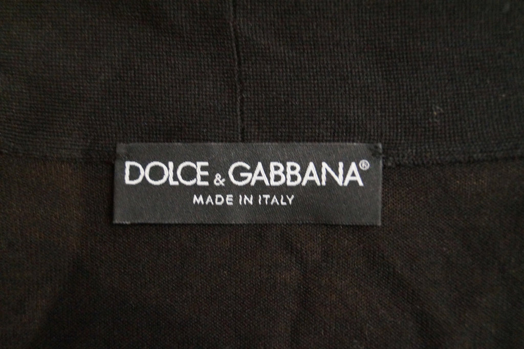 DOLCE & GABBANA Black Silk Crossover V Neck Brooch Fastened Cardigan Top IT44