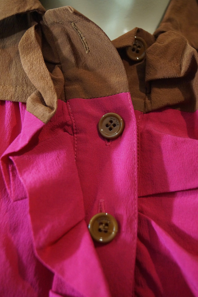 SONIA BY SONIA RYKIEL Hot Pink & Brown Silk Collared Ruffle Front Top FR36 UK8