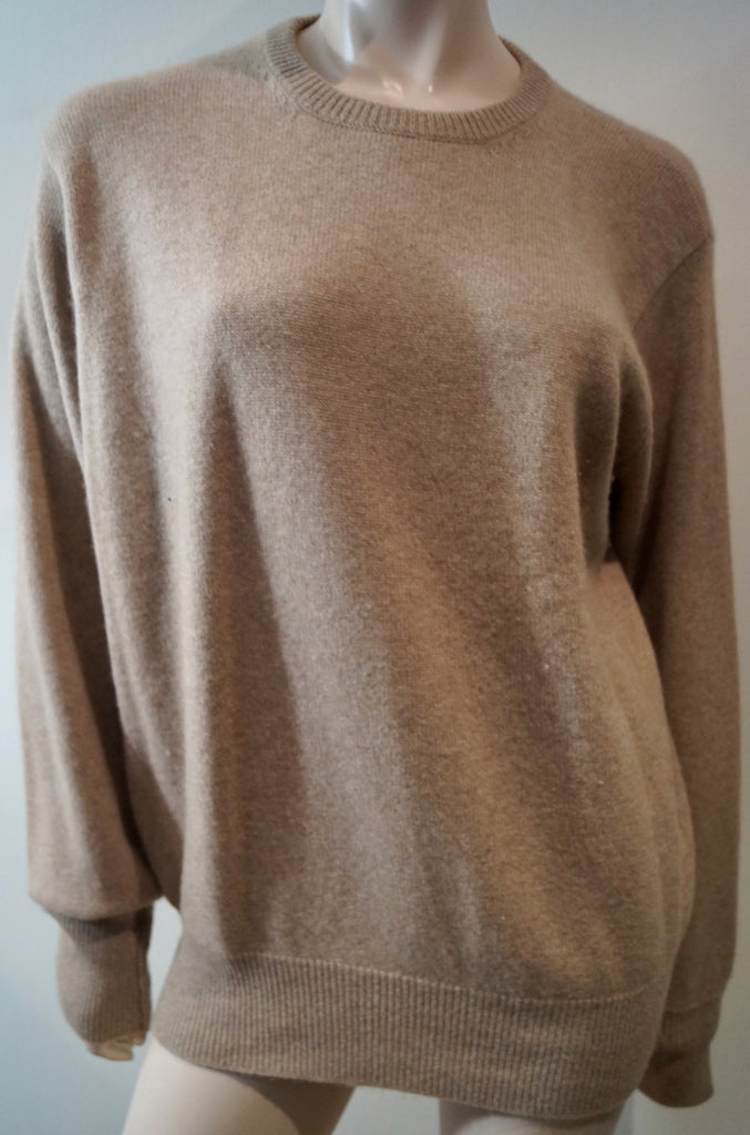 BAMFORD & SONS Beige Brown 100% Cashmere Car Detail Jumper Sweater Top Sz:L