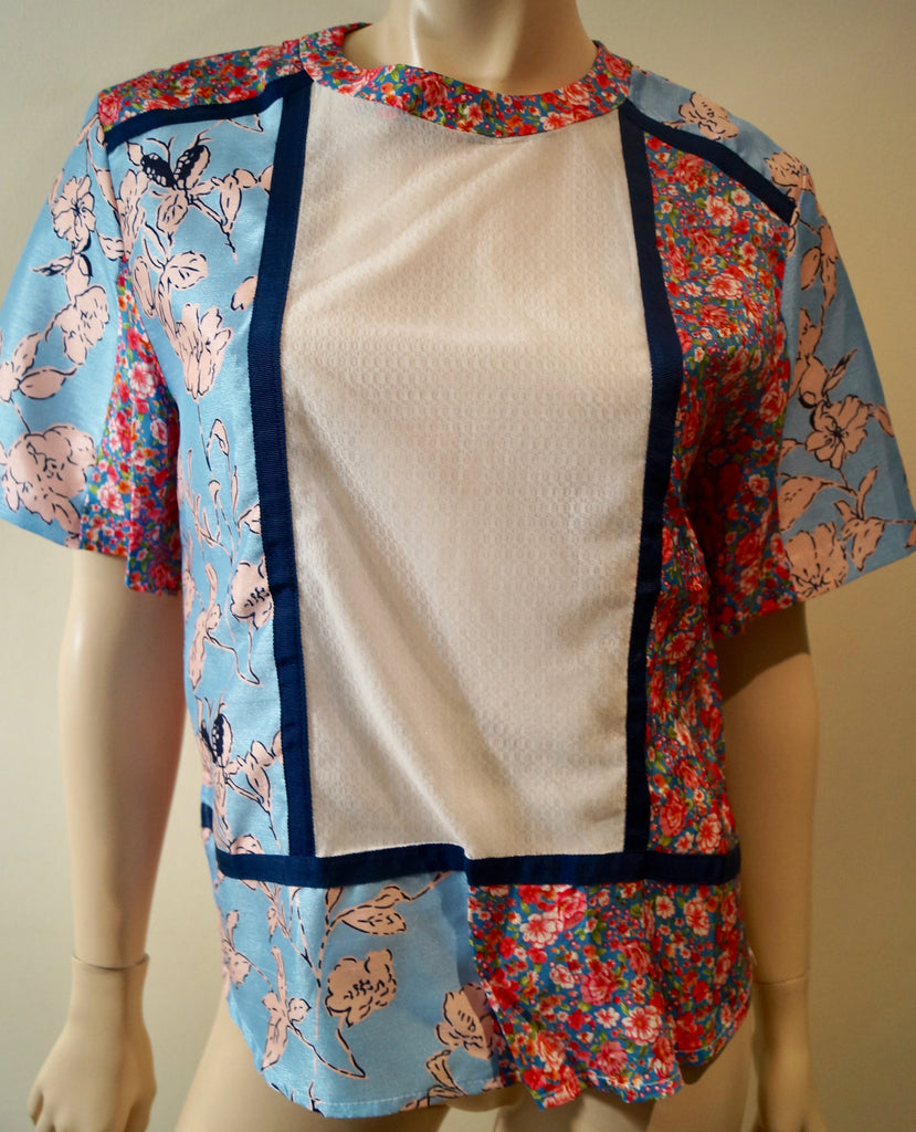 EMIN & PAUL Multi Colour Floral Print White Panel Short Sleeve Blouse Shirt Top