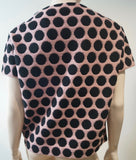 MARC JACOBS Dusky Pink & Black Fleece Wool Blend Polka Dot Short Sleeve Jumper S