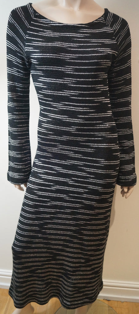 MISSONI Orange Label Black & White Knitted Long Sleeve Pencil Dress Sz:44 UK12