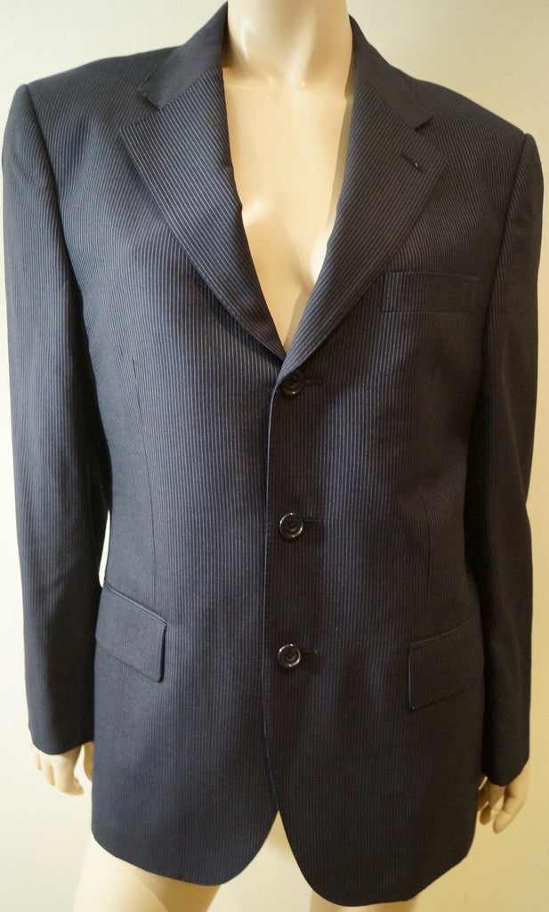 AQUASCUTUM Menswear Midnight Navy Grey Pinstripe Wool Formal Blazer Jacket 38S