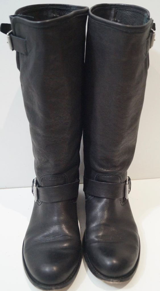 BELSTAFF Made In Italy Black Silver Buckled Calf Height Biker Boots EU40 UK7