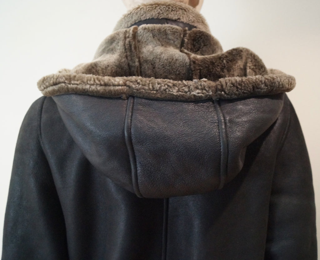 WOMEN'S Dark Brown Black Sheepskin Leather Hooded Long Sleeve Jacket Coat