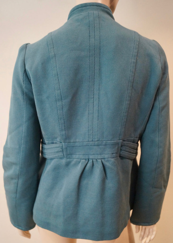 MARC JACOBS Blue 100% Cotton Military Style Collarless Blazer Jacket Top M