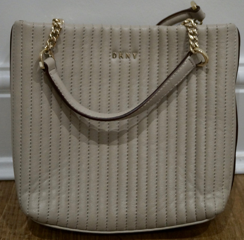 DKNY Cream Beige Quilted Leather Gold Tone Branded Detachable Shoulder Strap Bag