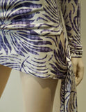 AMANDA WAKELEY Cream Purple Lilac 100% Silk V Neck Long Sleeve Wrap Tie Top UK8