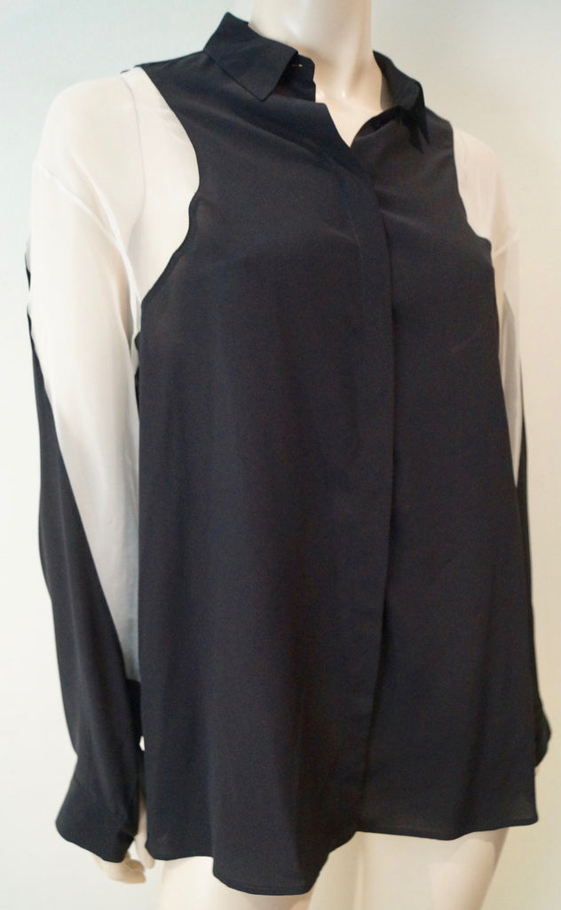 STELLA MCCARTNEY Black Silk Cream Sheer Panelled Collared Blouse Top 42 UK12