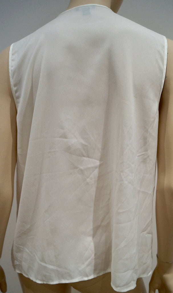 ANN TAYLOR Cream Round Neck Fray Ruffle Front Sleeveless Blouse Top Sz:14