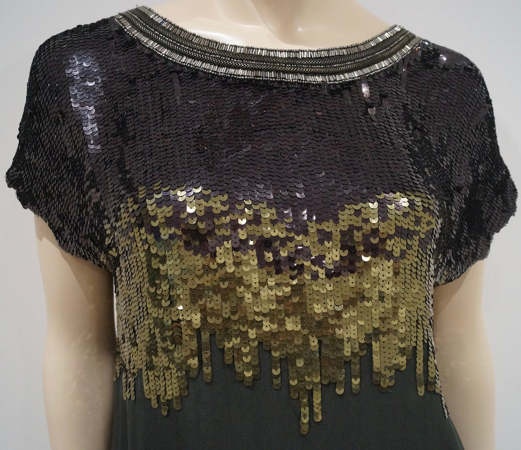 MATTHEW WILLIAMSON Black Olive Green Ombre Sequin Embellished Blouse Top GB6