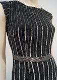 LACE & BEADS Black Silver Sequin Embellished Cap Sleeve Lined Evening Maxi Dress