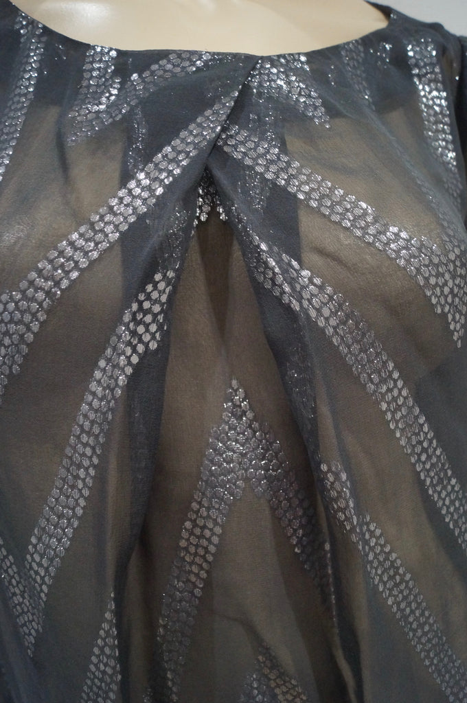 BY MALENE BIRGER Charcoal Grey Silver Metallic Stitch Silk Blend Blouse Top 34