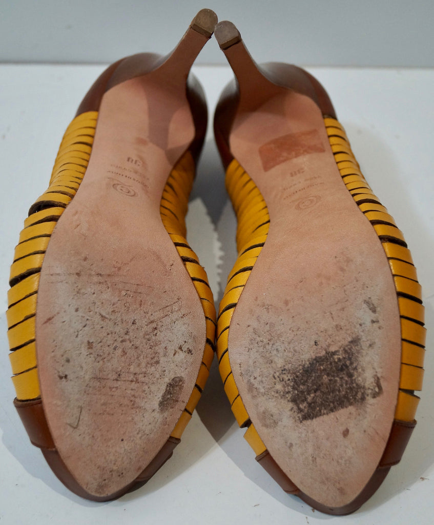 ALEXANDER MCQUEEN Brown Yellow Leather Cut Out Peep Toe Stiletto Heel Shoes UK5