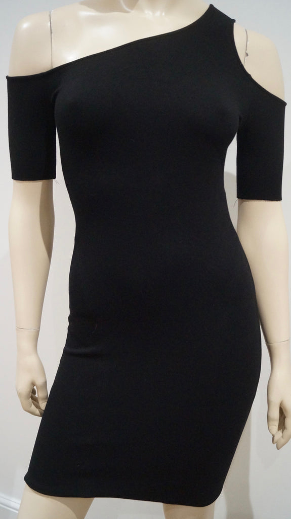 HELMUT LANG Black One Shoulder Short Sleeve Fitted Bodycon Evening Mini Dress S