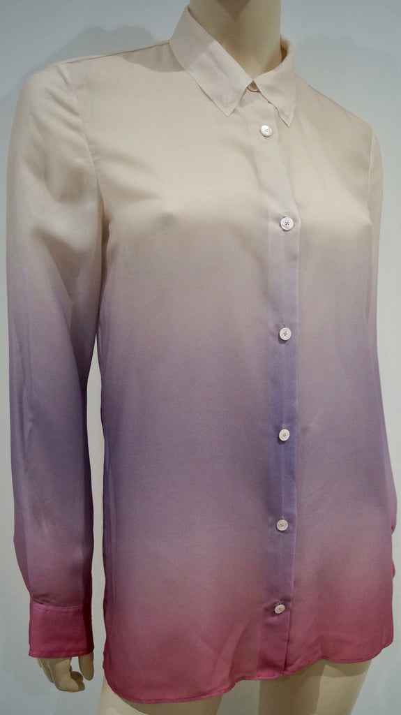 ACNE Cream Pink & Purple Ombre Collared Long Sleeve Blouse Shirt Top 36; UK10