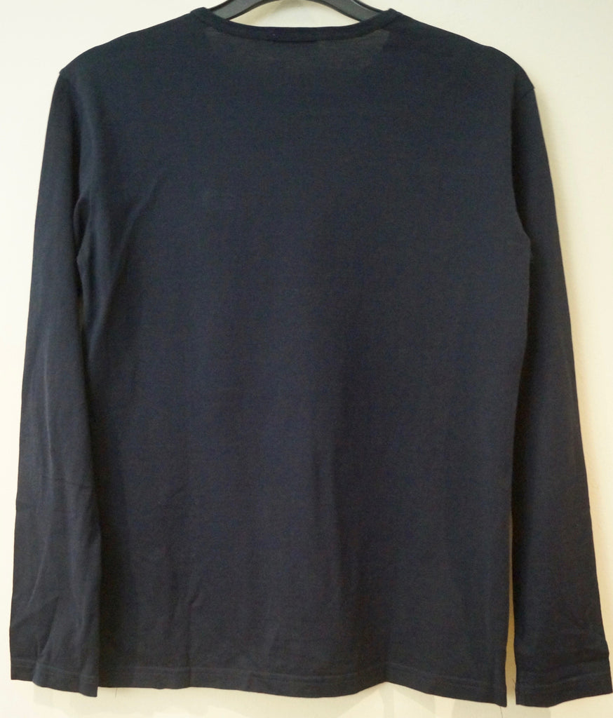 DOLCE & GABBANA Boys Navy Blue Cotton Branded Long Sleeve T-Shirt Tee Top 12Y