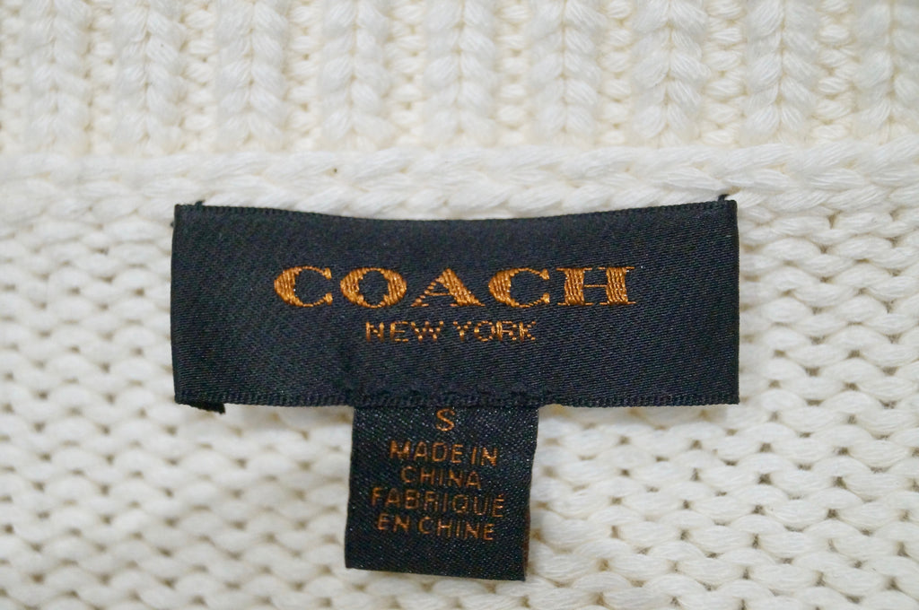 COACH NEW YORK Cream Cotton Blend Knit Flag Pattern Front Jumper Sweater Top S