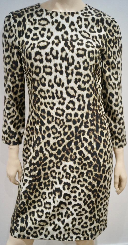 RAG & BONE Cream Brown 100% Silk Animal Print Round Neck Lined Dress US6 UK10