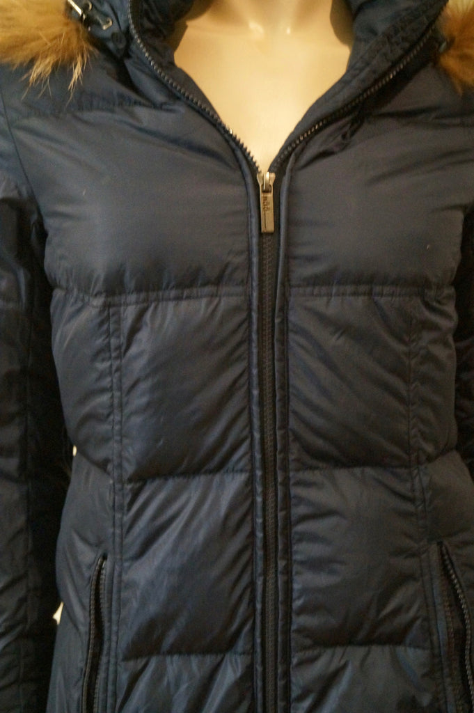 ADD Women's Navy Blue Quilted Padded Detachable Fur Trim Hooded Coat GB8