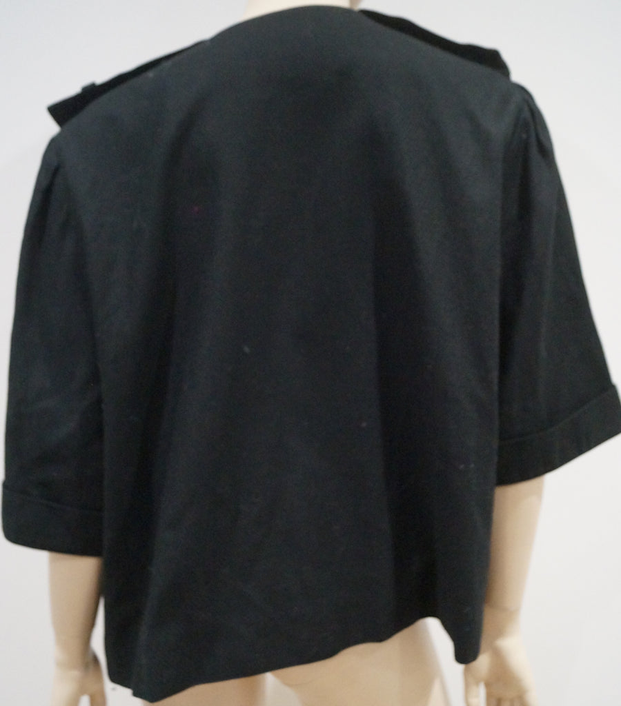 GIVENCHY EN PLUS Black 100% Cotton Open Front Short Sleeve Boxy Blazer Jacket 48