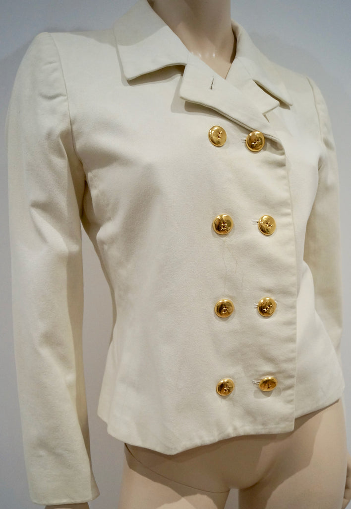1c971a32a7d ... YVES SAINT LAURENT RIVE GAUCHE Cream Cotton Double Breasted Blazer  Jacket 38 ...