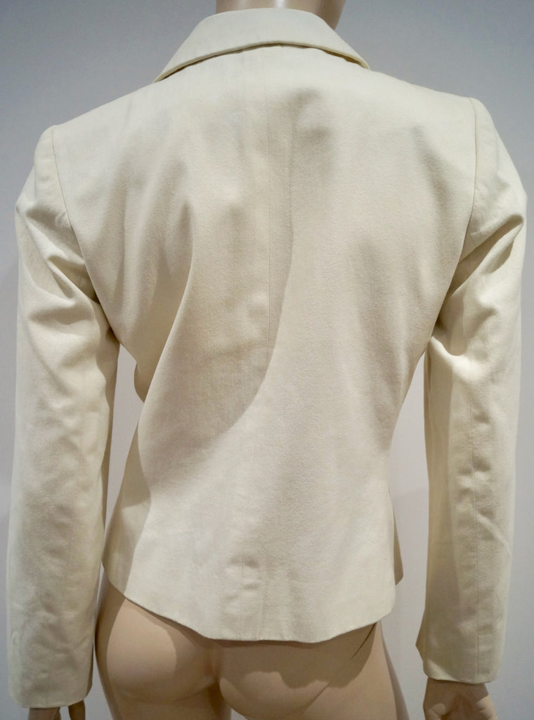 YVES SAINT LAURENT RIVE GAUCHE Cream Cotton Double Breasted Blazer Jacket 38