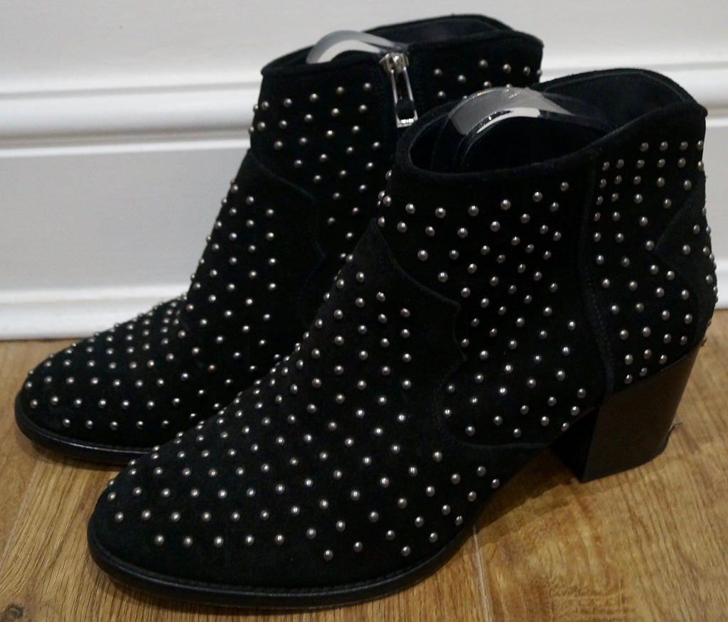 ZADIG & VOLTAIRE Black Suede Leather Studded Block Mid Heel Ankle Boots 40; UK7