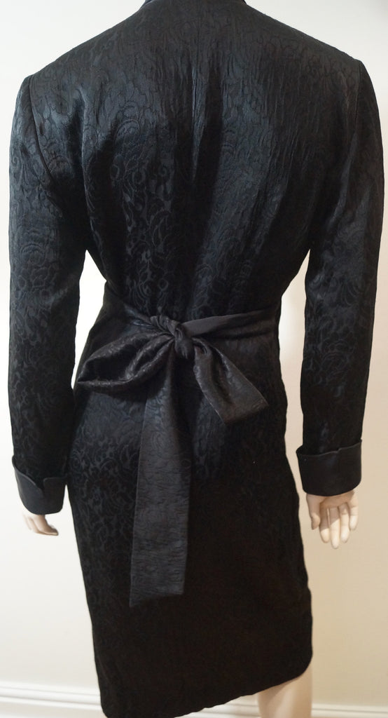DONNA KARAN NEW YORK Women's Black Sheen V Neck Belted Evening Coat UK8 US6