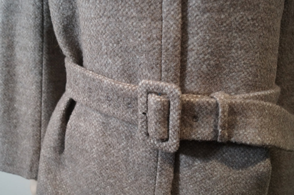 ACNE Brown & Beige 100% Wool Belted Long Length Lined Winter Coat FR40 UK12