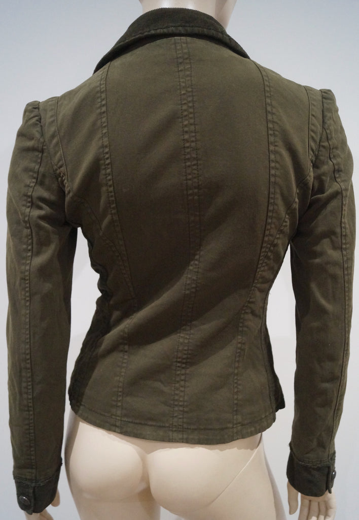 D&G DOLCE & GABBANA Khaki Cotton Blend Corduroy Collar & Trim Blazer Jacket Sz40