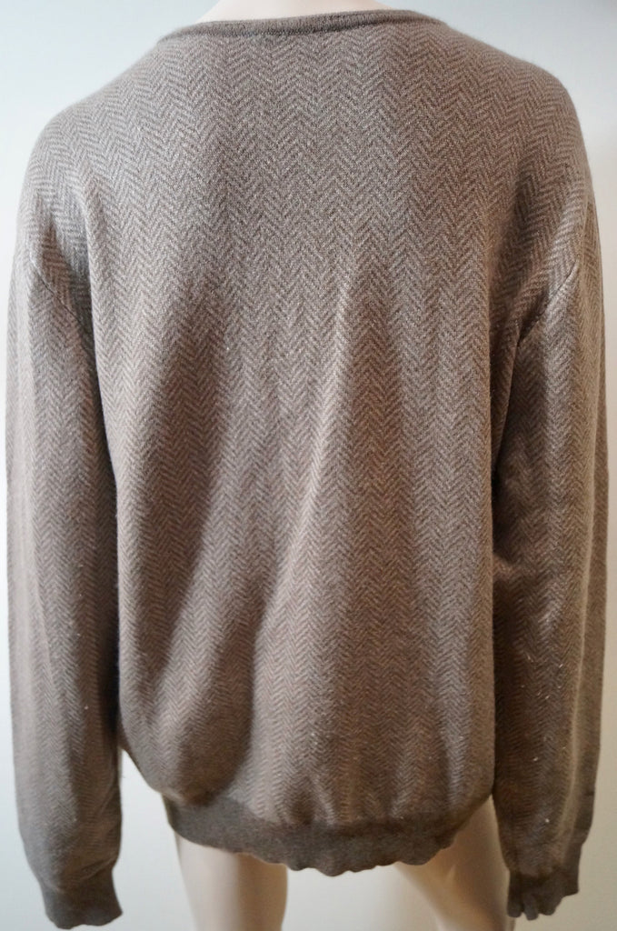 BAMFORD & SONS Menswear Brown & Beige 100% Cashmere Jumper Sweater Top XL