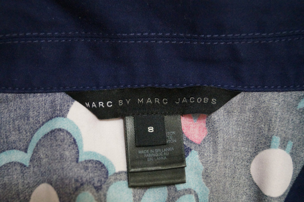 MARC BY MARC JACOBS Black Blue Pink Cotton Floral Print Short Sleeve Dress US8