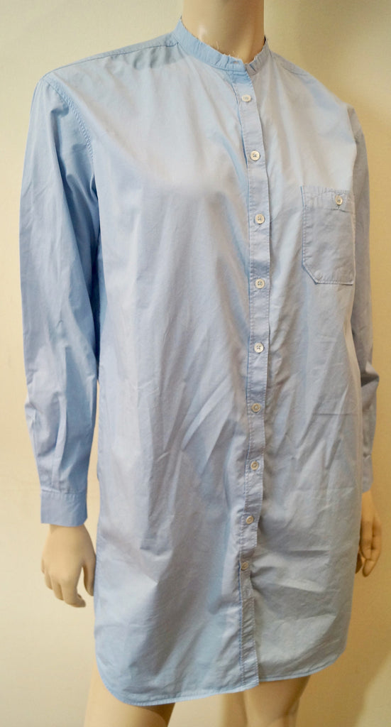 PAUL BY PAUL SMITH Pale Blue 100% Cotton Collarless Long Length Shirt 42 UK10