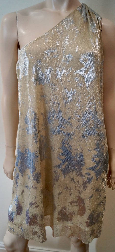BA&SH Beige & Silver Metallic Lurex Blend One Shoulder Evening Dress 2 M UK10/12