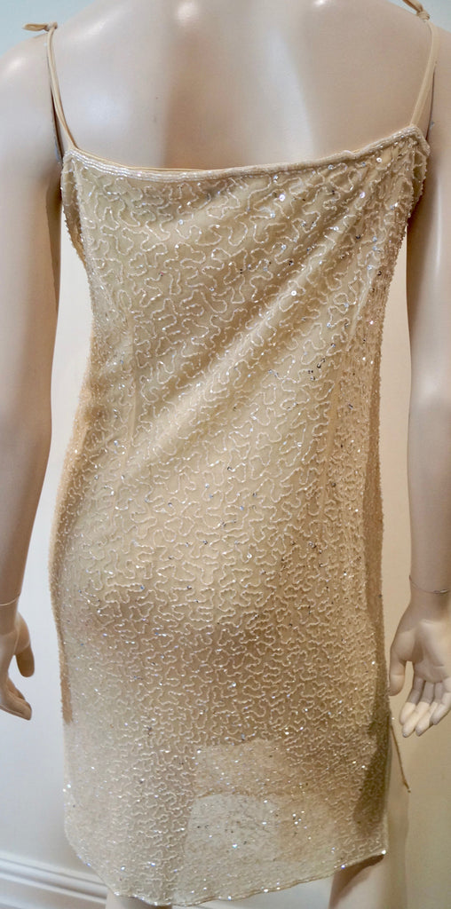 ANGEL NINA Made In France Cream Sequin Embellished Sleeveless Evening Dress 3; M