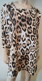 NETA EFRATI Women's Cream Beige Brown Leopard Animal Print Jersey Dress S/M BNWT