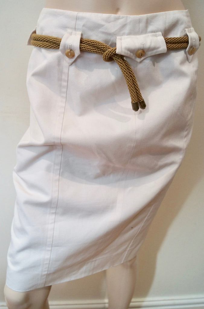 YVES SAINT LAURENT RIVE GAUCHE Cream 100% Cotton Belted Pencil Skirt 38 UK10