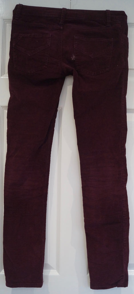 ZADIG & VOLTAIRE Burgundy Cotton Stretch Corduroy Trousers Jeans Pants Sz:36 / S