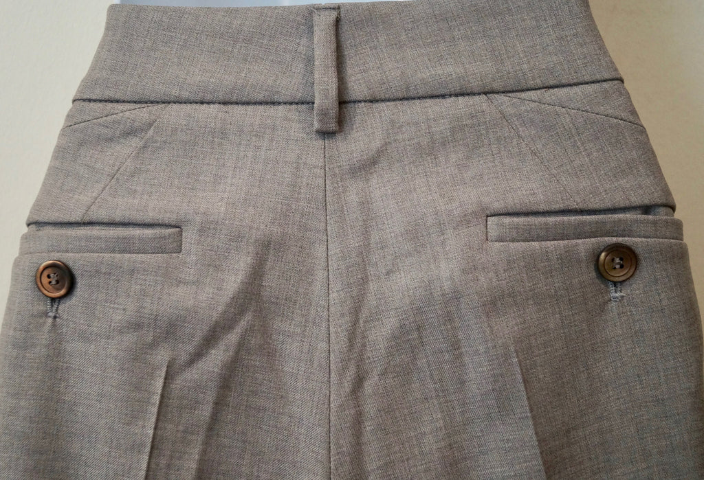 BRUNELLO CUCINELLI Women's Grey Virgin Wool Formal Business Trousers UK12