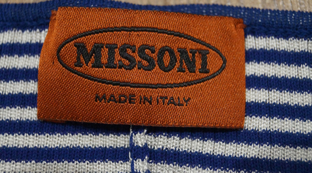 MISSONI Orange Label Blue White Pink Striped Halter Neck Cardigan Top 42 UK10