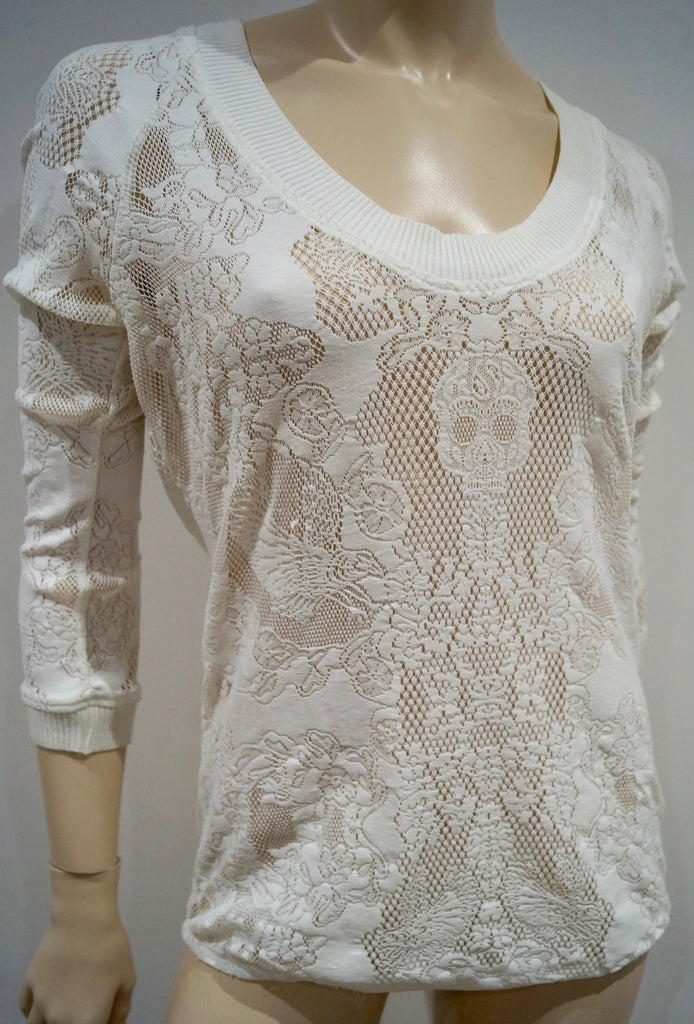THE KOOPLES Winter White Perforated Pattern Round Neck 3/4 Sleeve Sweater Top S